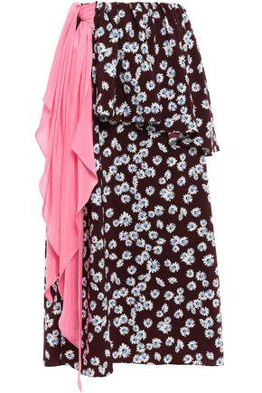 ANNA OCTOBER Floral-print draped crepe de chine midi skirt