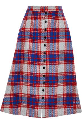 NOVIS The Somerset checked wool-blend felt skirt