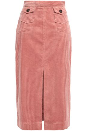 ALEXACHUNG Split-front cotton-blend corduroy midi skirt