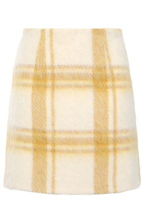 ALEXACHUNG Brushed wool-blend mini skirt