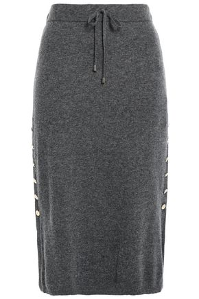 DKNY Button-detailed knitted skirt