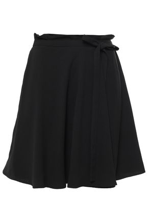 DKNY Bow-detailed wrap-effect satin-crepe min skirt