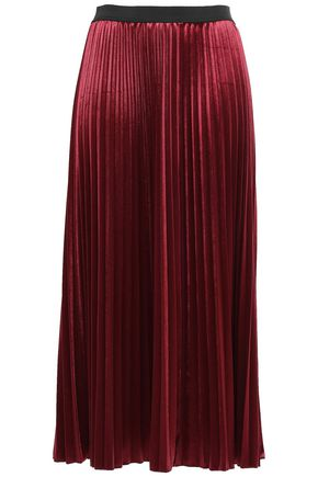 DKNY Pleated velvet midi skirt