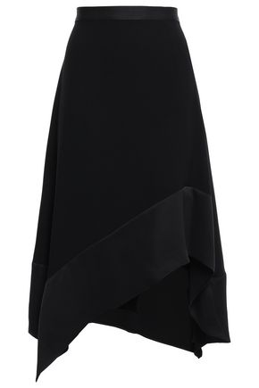 DKNY Asymmetric grosgrain-trimmed satin-crepe skirt