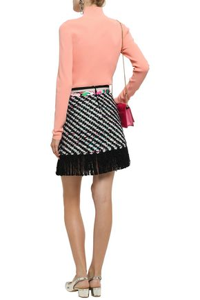 EMILIO PUCCI Fringe-trimmed wool, silk and cotton tweed mini skirt