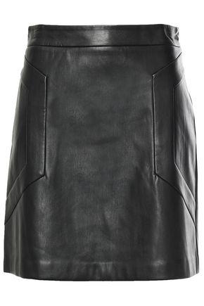 DKNY Stretch-faux leather min skirt