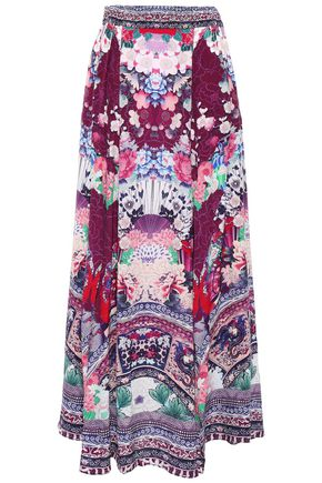 CAMILLA Little Osaka Girl crystal-embellished silk crepe de chine maxi skirt