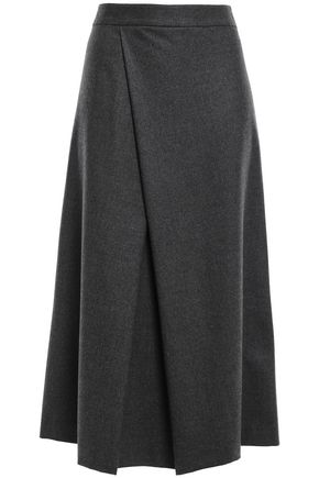 THEORY Wrap-effect wool-blend flannel midi skirt
