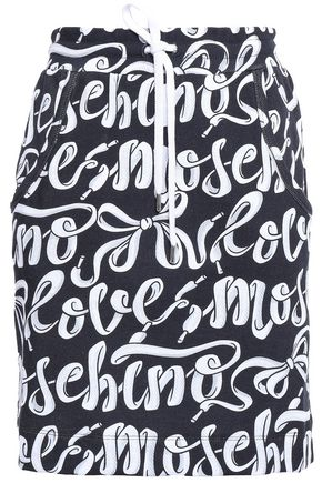 LOVE MOSCHINO Printed French cotton-terry mini skirt