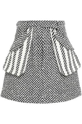 OSCAR DE LA RENTA 装飾付き ブークレツイード ミニスカート