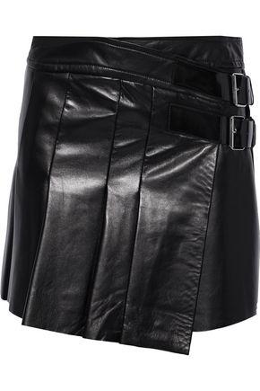 HELMUT LANG Buckled pleated leather mini skirt