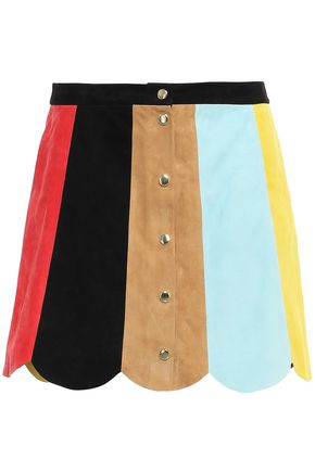ALICE + OLIVIA Scalloped color-block suede mini skirt