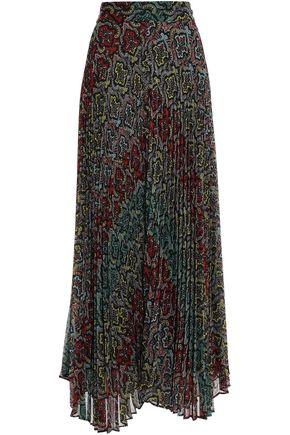 ALICE + OLIVIA Asymmetric printed plissé-crepon maxi skirt