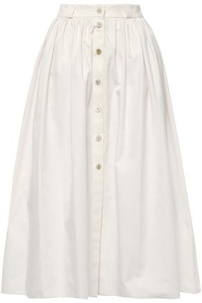 BROCK COLLECTION Gathered cotton-canvas midi skirt