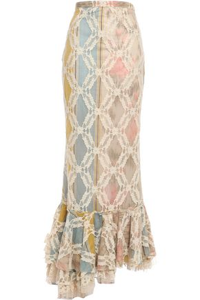 BROCK COLLECTION Asymmetric fluted corded lace maxi skirt