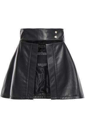 ROKH Zip-detailed cutout leather mini skirt