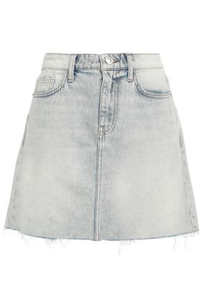 CURRENT/ELLIOTT Frayed faded denim mini skirt