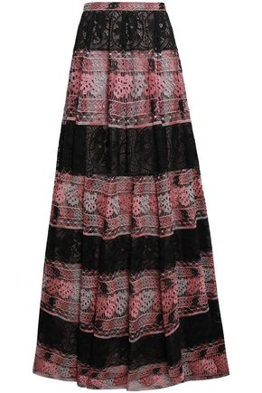 GIAMBATTISTA VALLI Paneled guipure lace maxi skirt
