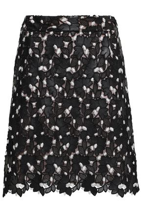 GIAMBATTISTA VALLI Scalloped embroidered guipure lace mini skirt