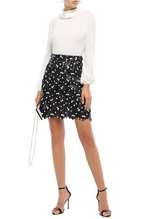 Giambattista Valli Woman Scalloped Embroidered Guipure Lace Mini Skirt Black
