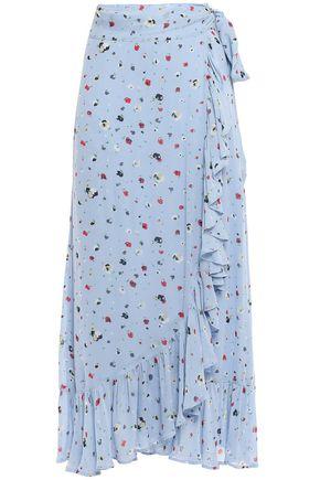 GANNI تنورة ملتفة من قماش كريب دي شين مطبعة بالورود