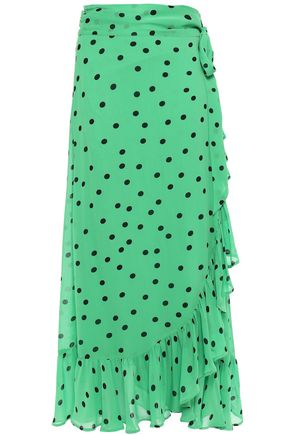 GANNI Ruffled polka-dot georgette midi wrap skirt
