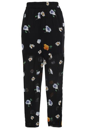 GANNI Dainty floral-print georgette tapered pants