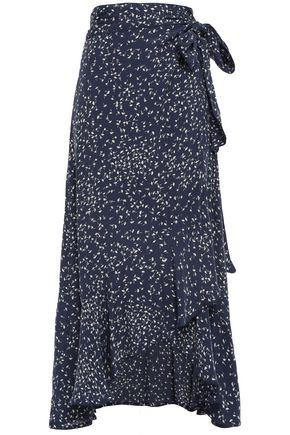 GANNI Asymmetric ruffled floral-print crepe midi wrap skirt