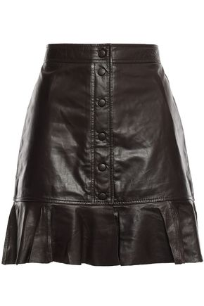 GANNI Rhinehart fluted leather mini skirt