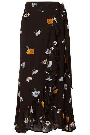 GANNI Ruffled floral-print georgette midi wrap skirt