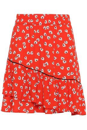 GANNI Layered floral-print crepe mini skirt