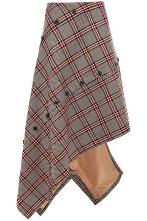 ROKH Button-detailed asymmetric checked jacquard skirt