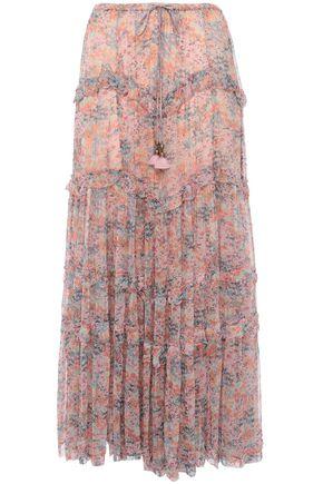 LOVE SAM Ruffle-trimmed floral-print georgette maxi skirt