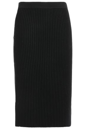 VICTORIA, VICTORIA BECKHAM Ribbed wool skirt