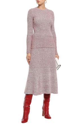 VICTORIA BECKHAM Marled ribbed-knit midi skirt