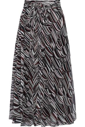 GIAMBATTISTA VALLI Belted printed silk-chiffon skirt