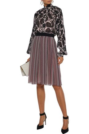 Giambattista Valli Woman Pleated Printed Silk-Chiffon Skirt Plum