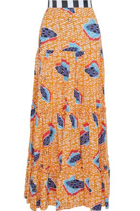 STELLA JEAN Gathered printed woven maxi skirt