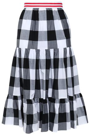 STELLA JEAN Grosgrain-trimmed gathered gingham cotton-poplin skirt