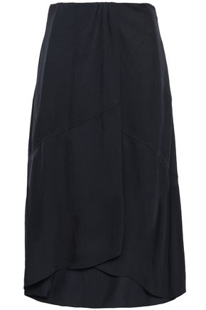 VINCE. Draped twill midi skirt