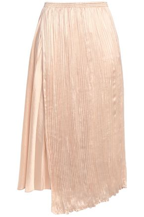 VINCE. Wrap-effect asymmetric pleated satin-crepe midi skirt