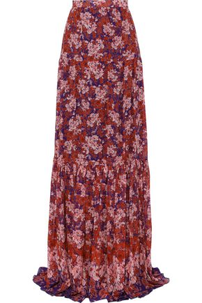 GIAMBATTISTA VALLI Gathered floral-print silk-georgette maxi skirt