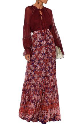 Giambattista Valli Woman Gathered Floral-Print Silk-Georgette Maxi Skirt Brick