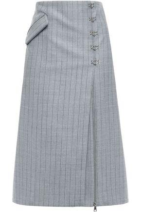 JONATHAN SIMKHAI フック付き ピンストライプツイル ミディスカート