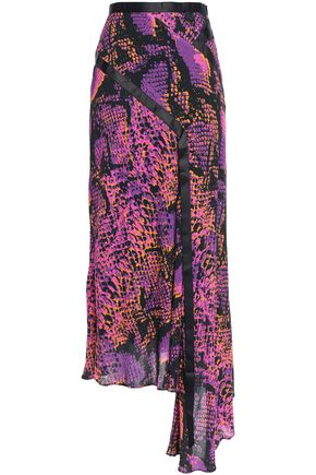 HOUSE OF HOLLAND Asymmetric grosgrain-trimmed snake-print gauze midi skirt