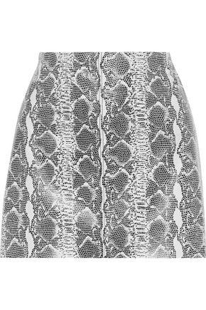 "ALICE + OLIVIA تنورة قصيرة ""إيلانا"" من الجلد بنقوش الثعبان"