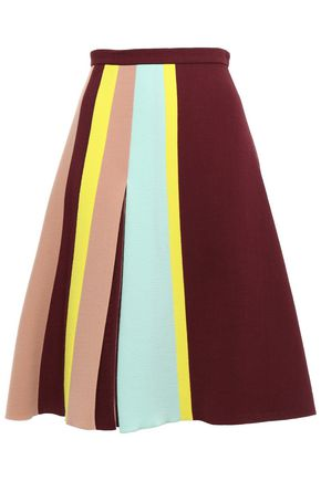 DELPOZO Flared pleated color-block wool-crepe skirt