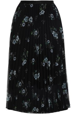 CLAUDIE PIERLOT Pleated printed georgette midi skirt