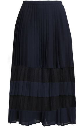 CLAUDIE PIERLOT Pleated lace-trimmed crepe de chine midi skirt
