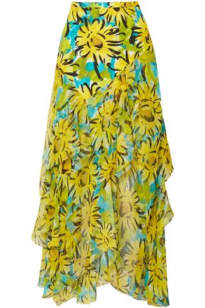 MICHAEL KORS COLLECTION Ruffled floral-print silk-chiffon midi skirt